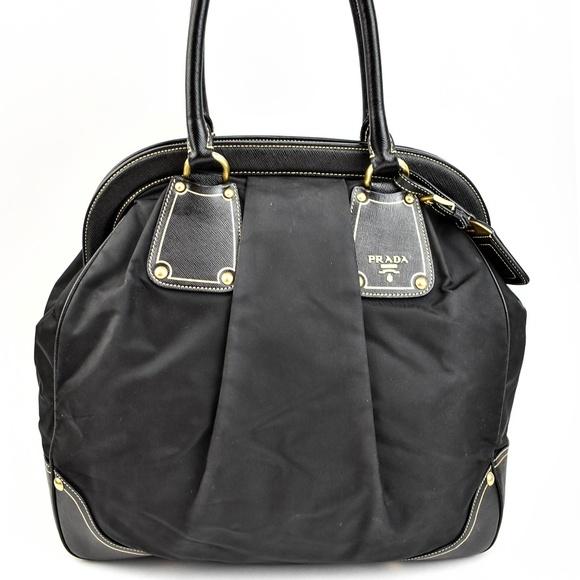 b011b7df1dc2 Prada Bags | Black Saffiano Leather Nylon Tote Nm | Poshmark